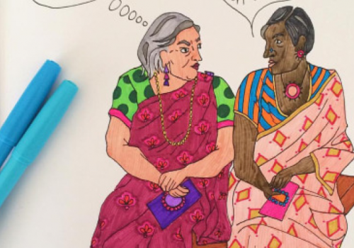 A photograph of a pen-and-paper illustration of two women, depicted as stereotypical 'Auntys' in the Indian context, talking to each other.