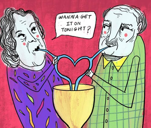 """Drawing of an older couple drinking from a cup with two straws shaped like a heart on a pink background. One of them is dressed in purple and asks """"Wanna get it on tonight?"""" The other person is wearing a green checked shirt with yellow color. Aree logo can be seen on the top right of the drawing."""