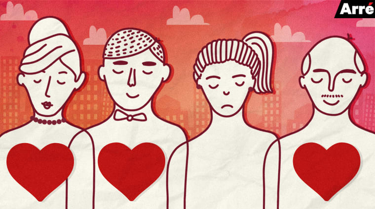 A drawing of four people in a red background. Behind them are drawings of buildings and clouds. The four faces have different expressions on them- two can be seen smiling, the third person has a neutral expression and the fourth person has a sad expression. Three hearts are also drawn on the first, second and the fourth person.