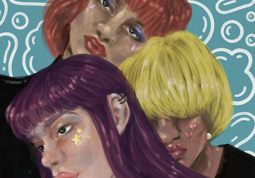 """An illustration of three women against a blue background with bubbles in white. The three women are looking in different directions and close together. The front-most woman has long purple hair and is wearing a black top. Her face is turned towards the left. The woman behind her has short yellow-blonde hair and her eyes are not visible. She is wearing a black top too. The woman behind both is staring into the camera and has purple eyeshadow. She has short copper hair. On the right-most corner, in white letters, is written """"(gaysi)"""""""