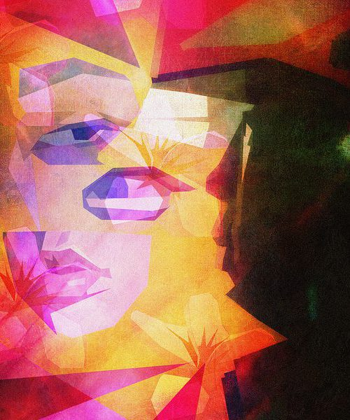 Abstract art, coloured in shades of olive green, black, peach, pink, yellow, orange, and purple. It appears to show two silhouettes, to the left are distinct parts of a woman's face and to the right a darker silhouette looking at these parts.