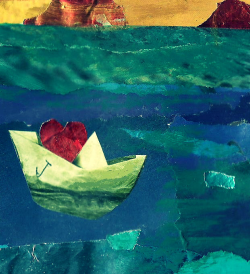 An abstractly made illustration of a landscape with mountains depicted in yellow, and below, a blend of green-blue to depict oceans. The texture of the colours evokes waves as well as ice. On the left is a paper boat, yellow-white with blue-green hues, carrying a red rose-like flower in the middle.