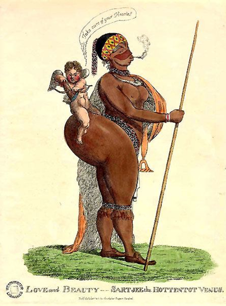 An illustrated poster depicting a black woman with exaggerated body parts, wearing a yellow bandana, carrying a stick in her left hand, and facing sideways. She is wearing a patterned half-robe and smoking. On her hip rests Cupid, toying with their bow, and a speech bubble saying 'Take care of your Hearte' in cursive. They are on a green path of grass.