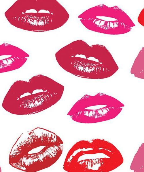 On a white background, digital art of lips: light pink, mauve, red, and magenta.