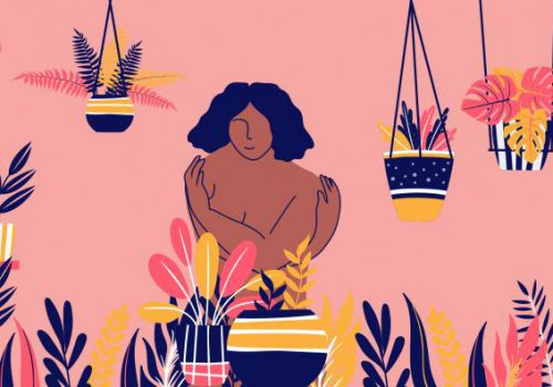 On a pink background, an illustration of a person of colour with black curly hair. On each side are plants, hanging and potted including leaves, cacti, and flowers. The person's arms are wrapped around their torso.