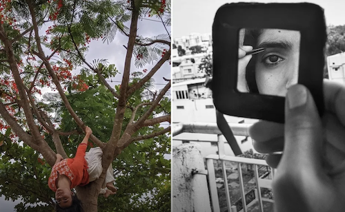A set of two photographs, on the left a coloured photograph of a woman hanging from a tree with orange flowers, on the right a black and white photograph of a woman looking at her left eye in a hand-held mirror and applying make-up.