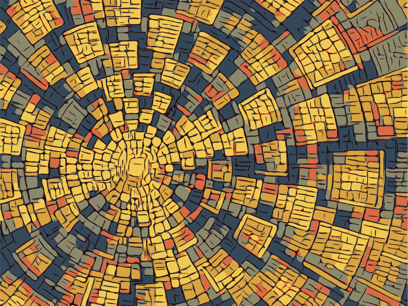 A graphic illustration of a pattern. The dominant colours are yellow, orange, grey, blue, and black. Blocks of colour emerge from a cluttered centre and emanate upwards.